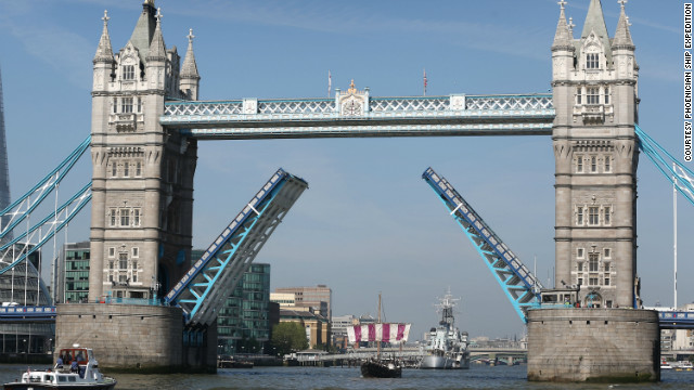 London Bridge opens its arms to the sailboat, which made a second journey last year from Sardinia to Britain. The voyage retraced the ancient Phoenician trading route with the Cornish.