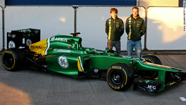 Charles Pic and Dutch rookie Giedo van der Garde launched Caterham's new CT03 car on the first day of preseason testing at Circuito de Jerez on February 5.