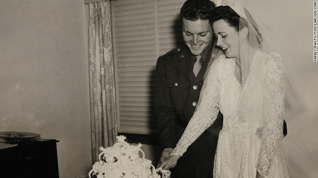 "To stay connected, the newlyweds wrote each other as often as they could. ""Darling, I can hear Bing (Crosby) singing over the loudspeaker,"" wrote Lloyd on July 6, 1944. ""He is singing 'By the Light of the Silvery Moon.' Boy, he can really sing. Marian, remember the old moon down in Mississippi."""