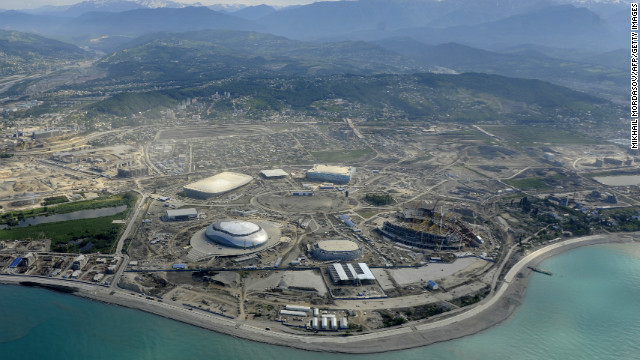 This aerial picture taken on May 18, 2012, shows a general view of the construction area of the Olympic Park.