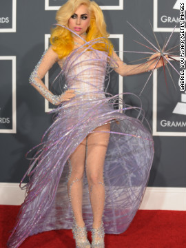 Always one to make an entrance, Lady Gaga arrived at the 2010 Grammys wearing what has since been dubbed her space orbit dress.