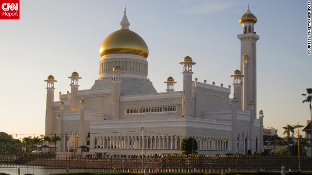 "Evening light flatters the majestic Omar Ali Saifuddin Mosque. ""People were starting to gather around the mosque for evening prayers...It was very humbling,"" said Christopher Foss, who shot this photo."