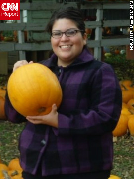 "Every year Garcia goes to a pumpkin patch with Monreal to celebrate their anniversary. This photo was taken during their 2009 visit. ""I love fall and the month of October,"" she says."