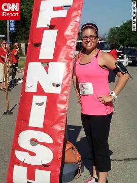 Garcia completed her first 5K race in 27 minutes in May 2012.