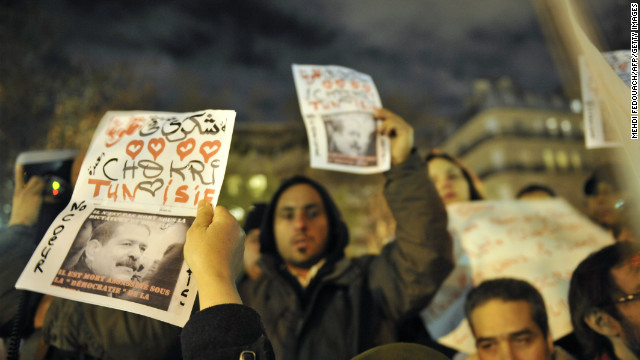 Protesters demonstrate on February 6, 2013 outside the Tunisian embassy in Paris against the killing of Chokri Belaid. 