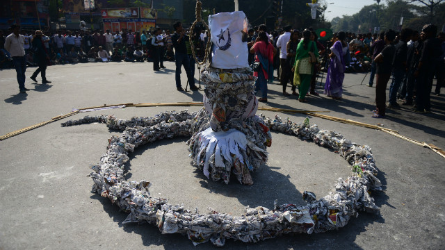 An effigy of a snake in a demonstration demanding the death sentence for the country's war criminals in Dhaka on February 6.