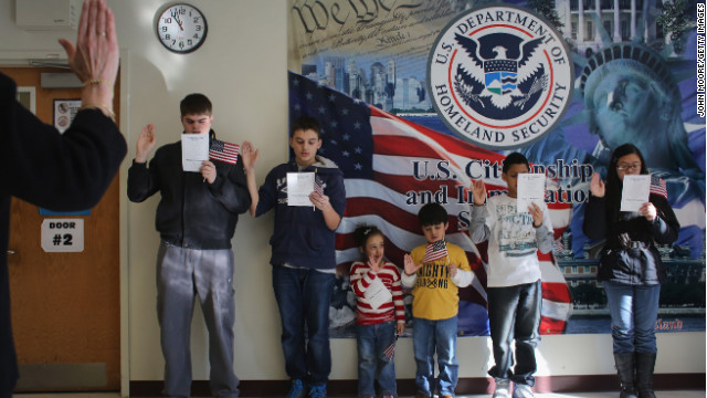 Children of naturalized immigrants participate in a U.S. citizenship ceremony January 29 in New York.