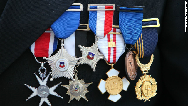 A Chilean Naval officer's medals, as a wreath is laid to mark Chilean Naval Day at Westminster Abbey, May 21, 2009, London.