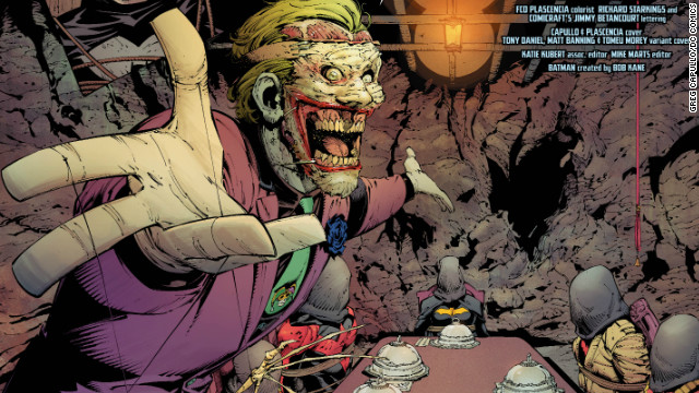 The Joker has been terrorizing Batman and his friends in multiple issues of DC Comics since October. Here, he's kidnapped many of Batman's costumed allies: Robin, Batgirl, Red Robin, Nightwing (the original Robin) and the resurrected Jason Todd, aka the Red Hood. 