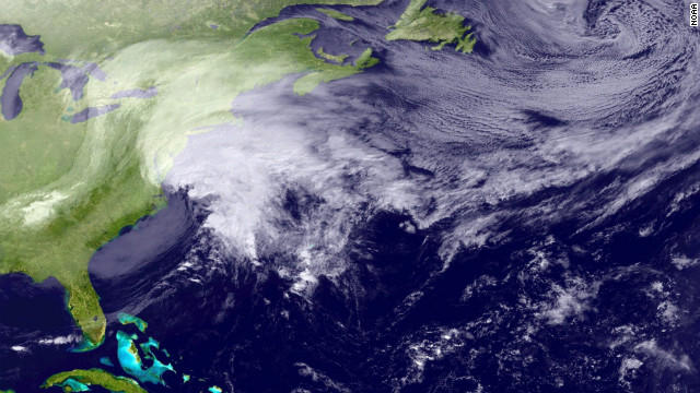 A satellite image released by the National Oceanic &amp;amp; Atmospheric Administration on February 8, shows a large storm over the Northeastern United States. 