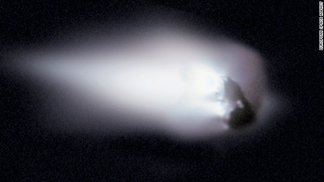 In 1986, the European spacecraft Giotto became one of the first spacecraft to encounter and photograph the nucleus of a comet. This photo shows Comet Halley's nucleus. The debris from the nucleus creates the trail of debris responsible for the Orionids meteor shower each October and the Eta Aquariids in May.