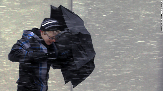 This umbrella doesn't stand a chance in the wind-driven snow Friday in Boston as a potentially <a href='http://www.cnn.com/2013/02/08/us/northeast-blizzard/index.html'>historic winter storm closes in on the Northeast</a>, especially New England.