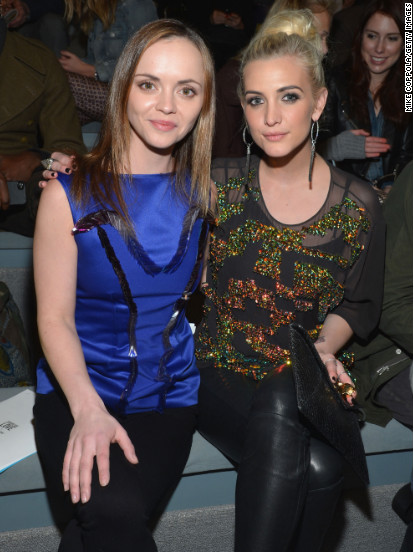 Christina Ricci and Ashlee Simpson attend a fashion show in NYC.