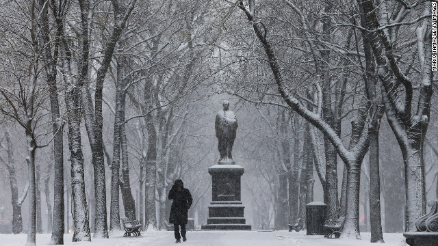 Jeannine Strampel walks through the snow past a statue of Alexander Hamilton along Commonwealth Avenue Mall on February 8.