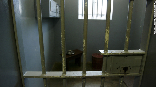 Mandela was held in this prison cell on Robben Island, off the coast of Cape Town, South Africa.