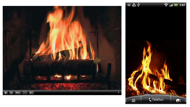 Don't just stay safe and warm, stay cozy. These apps will turn your mobile devices into flickering fires. <a href='https://itunes.apple.com/us/app/fireplace/id290311006?mt=8' target='_blank'>FirePlace</a> is a $.99 app for the iPhone or iPad, and the free <a href='https://play.google.com/store/apps/details?id=com.yukka.livewallpaper.fireplace&hl=en' target='_blank'>Fireplace Live Wallpaper</a> works in the background on Android devices.