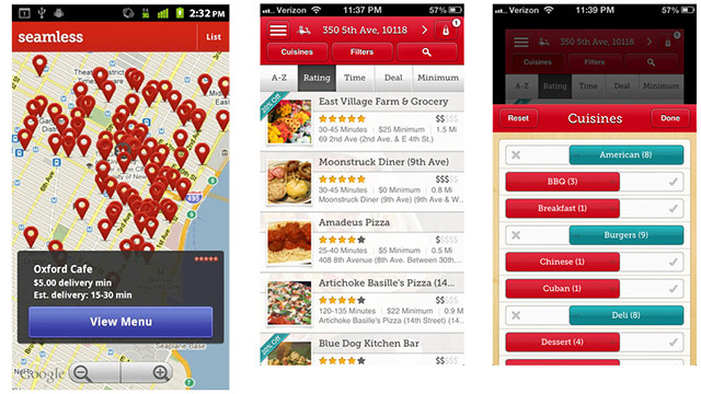 If you didn't stock up on food, you can still order in. The free <a href='http://www.seamless.com/mobile-apps/' target='_blank'>Seamless</a> app (iOS, Android, BlackBerry), is in many major cities and lets you place an order and pay right from the app. Browse local food options by type or on a map. If you do order during severe weather, don't forget to allow extra time and give a healthy tip.