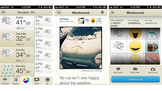 For people who love weather Tweets and Facebook updates, the free <a href='http://weathermob.me' target='_blank'>Weathermob</a> iOS app lets you file citizen weather reports from anywhere. Attach photos or videos and see what other people are reporting.