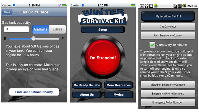 If you have to drive anywhere in the bad weather, this could be a life saver. The free <a href='http://www.ag.ndsu.edu/extension/apps/winter-survival-kit' target='_blank'>Winter Survival Kit </a>Android and iOS apps can transmit your location to emergency services, and if you get stuck it will calculate how long you can have your car engine on before there's a danger of carbon monoxide poisoning.