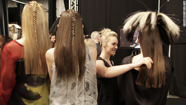 Backstage, &quot;Project Runway&quot; models get prepared on February 8.