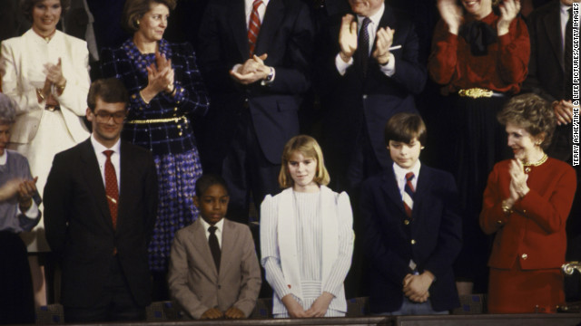 Trevor Ferrell, Richard Cavioli, Shelby Butler and Tyrone Ford were the special guests at Reagan's 1986 SOTU. Reagan honored Ferrell, who was barely a teenager, for working with the homeless; Butler, also in his early teens, for saving a fellow student; and Ford for his musical accomplishments.