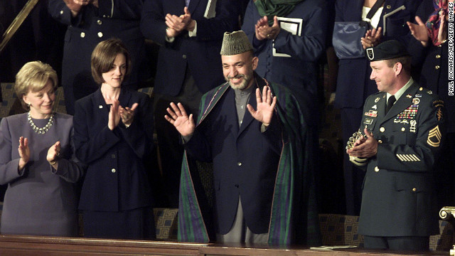 Afghanistan's current President Hamid Karzai, was President George W. Bush's guest at the 2002 SOTU.