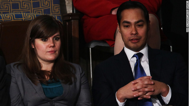 San Antonio Mayor Julian Castro, right, was also Obama's guest at the 2012 SOTU.