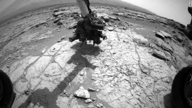 Mars rover drill collects rock sample