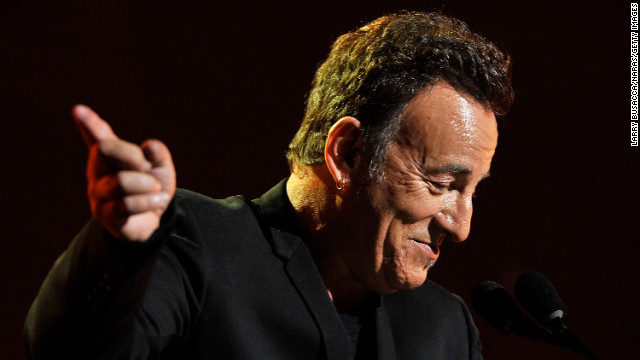 Springsteen gestures during his acceptance speech.
