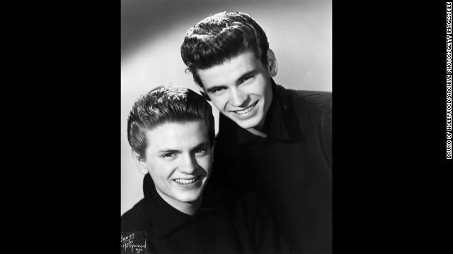 "The Everly Brothers, Phil, left, and Don, were an influential, harmonizing pop duo who produced such iconic hits in the 1950s and 1960s as ""Bye Bye Love"" and ""Wake Up Little Susie."" They were awarded the Grammy for Lifetime Achievement in 1997. They're shown here in 1955."