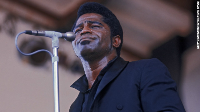 "James Brown, The Godfather of Soul, was famous for his over-the-top stage performances, which grew to include large orchestras and blended R&B, rock 'n' roll and jazz. He won his first Grammy in 1965 for ""Papa's Got a Brand New Bag"" and was awarded a Lifetime Achievement Award by the Grammys in 1992. He's seen here at the Newport Jazz Festival in 1968."