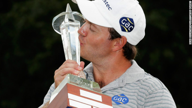 South African golfer Richard Sterne savors his victory at the Joburg Open on Sunday, having also won it in 2008.