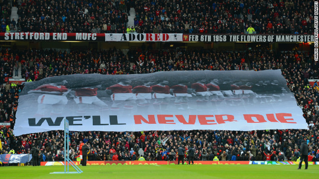Before the match, United fans held aloft a banner honoring the victims of the 1958 Munich Air Disaster,which killed eight of the club's players among 23 dead.