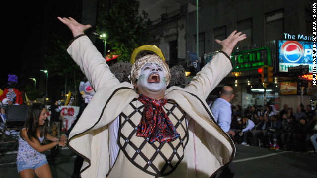 A Murga Alicia member parades in Montevideo.