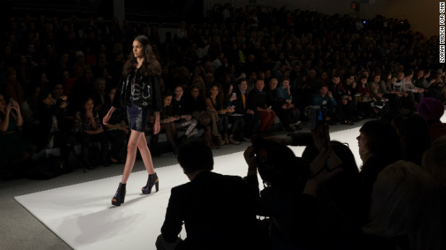 A Custo Barcelona model approaches the end of the catwalk on February 10.