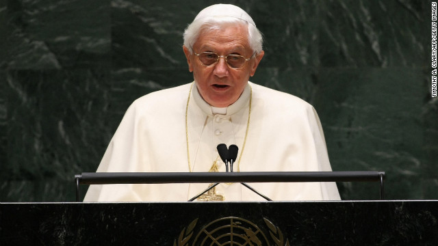 Benedict speaks at the United Nations General Assembly in New York in April 2008.