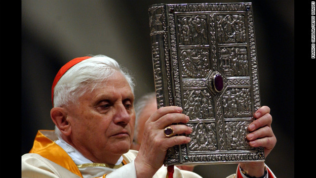 Ratzinger fills in for Pope John Paul II during the Easter Vigil service in Saint Peter's Basilica in March 2005. 