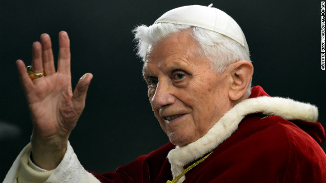 Pope Benedict XVI waves in St. Peter's Square in the Vatican in December 2012. Benedict, 85, announced on Monday, February 11, that he will resign at the end of February &quot;because of advanced age.&quot; The last pope to resign was Gregory XII in 1415.