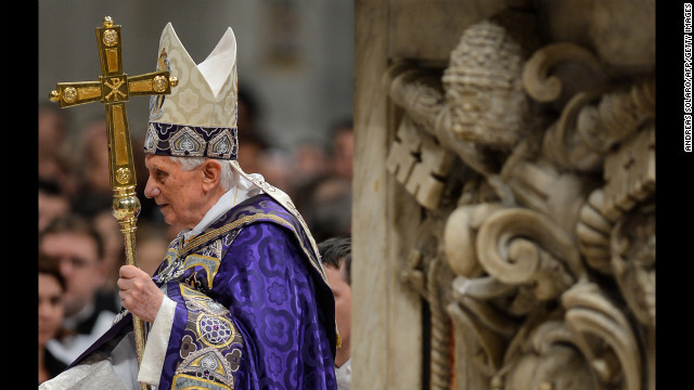 Benedict arrives to lead the Vesper prayer with members of Rome's universities in December 2012 at St. Peter's Basilica.
