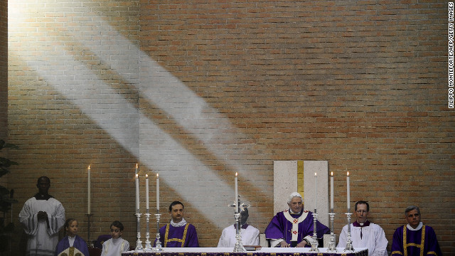 Benedict prepares to celebrate Mass at San Giovanni della Croce parish in Rome in March 2010. 