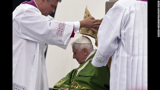 Benedict prepares to celebrate a Mass for 70,000 people in September 2011 in Berlin.
