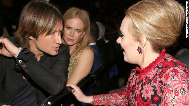 "Keith Urban to Adele: ""You're telling me you just blast your 'do with this hairpray on Mondays, and it stays put all week? See, that's what I need!""<!-- --> </br>Nicole Kidman to herself: ""Please, God. No."""