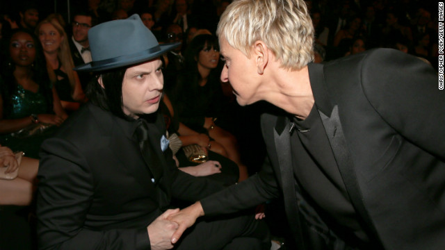 "Jack White: ""Ellen, what did you do with the hat, tie and pocket square I sent you? I thought we were going to be twinsies?""<!-- --> </br>Ellen DeGeneres: ""Next time, dude. I swear."""