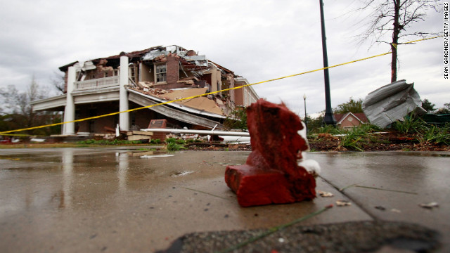 The Ogletree House, part of the Alumni Association at the University of Southern Mississippi, was damaged when the tornado touched down February 10 in Hattiesburg.