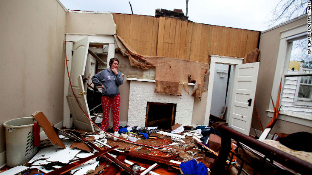 Jordon Williams' bedroom is in ruins on February 11 after the tornado struck Hattiesburg.