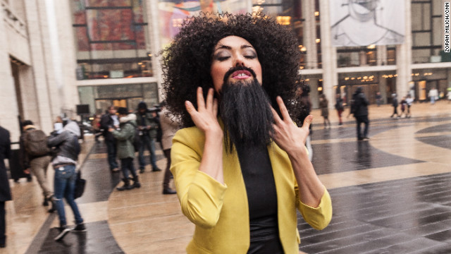 Comedian Daniella Pineda walks outside the Lincoln Center during New York Fashion Week on Monday, February 11.