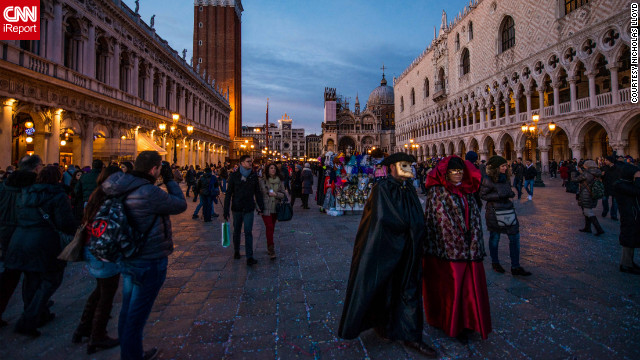 Venice celebrates Carnival, a festival held before the Christian period of Lent. Parties are held in the streets, and &quot;the atmosphere is mysterious and romantic, but also jovial,&quot; said Nicholas Lloyd, who shot this photo. See all his images on &lt;a href='http://ireport.cnn.com/docs/DOC-921085'&gt;CNN iReport&lt;/a&gt;.