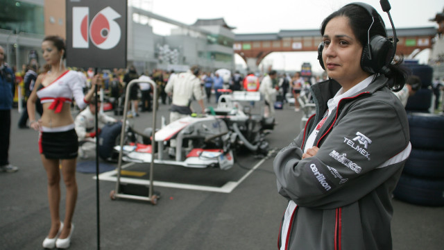 Kaltenborn said she is not disturbed by the use of &quot;grid girls&quot;, seen here at the 2011 Korean Grand Prix, in Formula 1. &quot;I think girls are prettier to look at than if you had men in those roles,&quot; she said.
