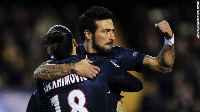 Ezequiel Lavezzi celebrates his early strike for Paris Saint-Germain with teammate Zlatan Ibrahimovic. The Argentine struck in the 10th minute and has now scored in each of his past three Champions League games.
