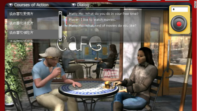 Alelo's games teach language through 3D simulations of real-life scenarios.